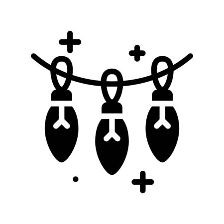 Christmas lights solid design icon, vector illustration