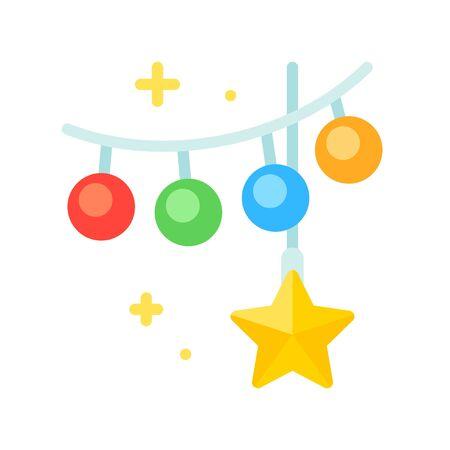 Christmas lights flat design icon, vector illustration 矢量图像
