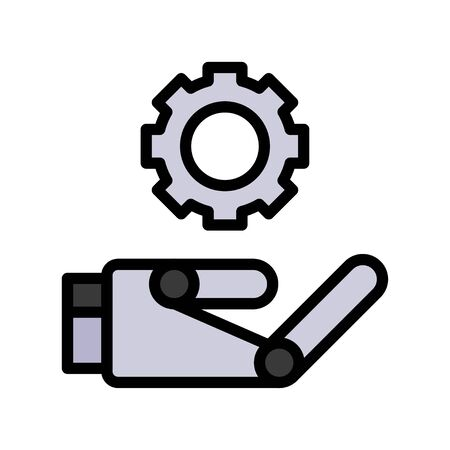 Robot hand with gear vector, Robotics related filled style icon