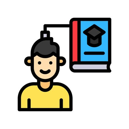 Knowledge transfer vector illustration, Future technology filled design icon