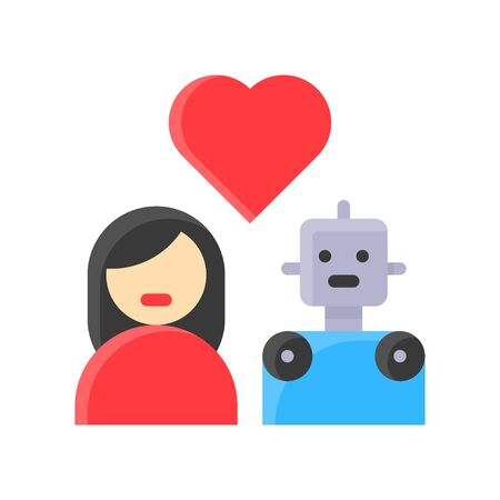 Human in love with robot vector, Robotics related flat style icon