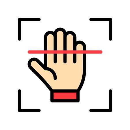Electronic fingerprint recognition vector illustration, Future technology filled design icon 矢量图像