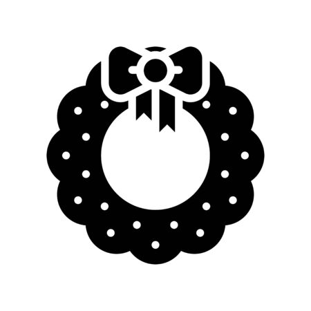 Christmas Wreath vector illustration, solid style icon