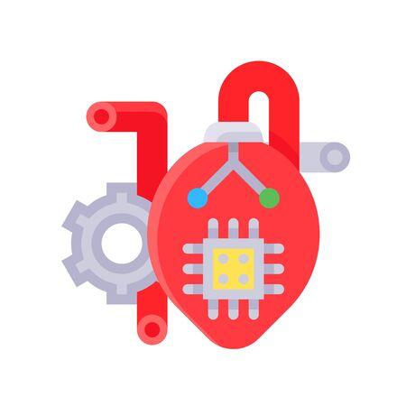 Artificial heart vector illustration, Future technology flat design icon 矢量图像