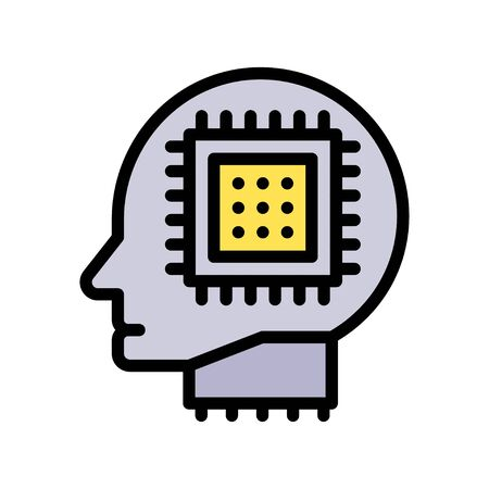 Robot head with circuit chip vector, Artificial related filled style icon