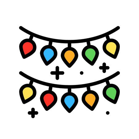 Christmas lights filled design icon, vector illustration 矢量图像