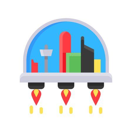 Space habitat vector illustration, Future technology flat design icon