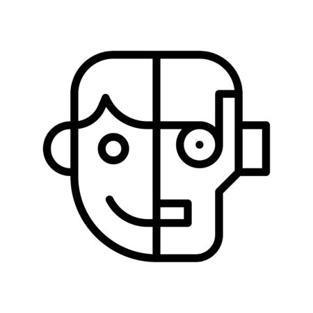Humanoid vector, Artificial related line style icon