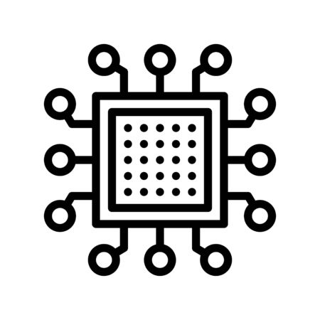 Integrated circuit vector, Artificial related line style icon