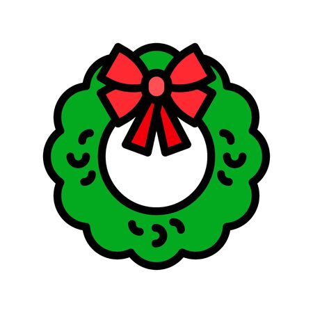 Christmas Wreath vector illustration, filled style icon