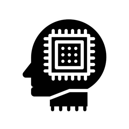 Robot head with circuit chip vector, Artificial related solid style icon