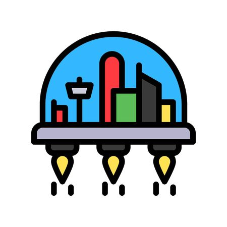 Space habitat vector illustration, Future technology filled design icon