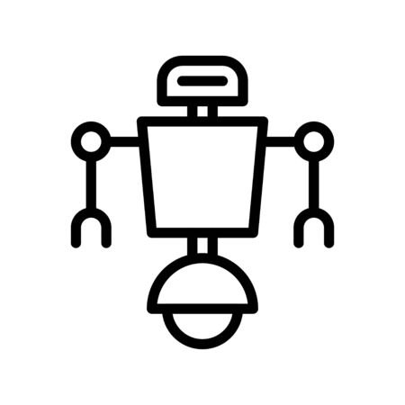 Robot navigation vector, Robotics related line style icon