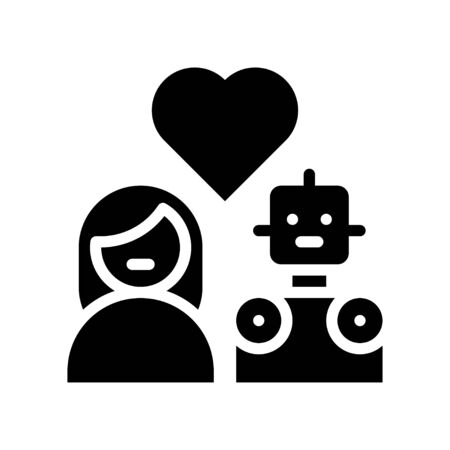 Human in love with robot vector, Robotics related solid style icon 矢量图像
