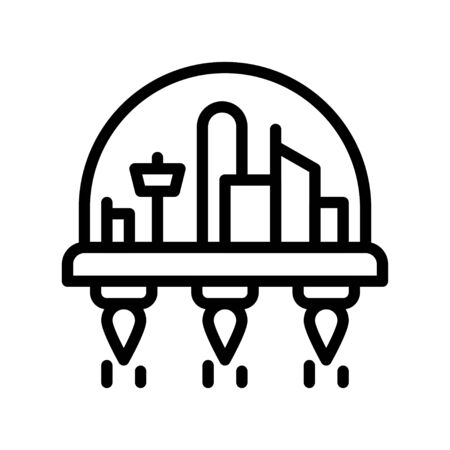 Space habitat vector illustration, Future technology line design icon