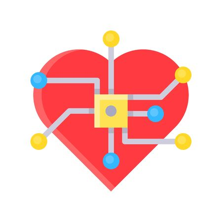 Heart with computer chip vector, Future technology flat design icon 矢量图像