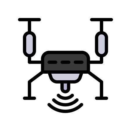Drone vector illustration, Future technology filled design icon