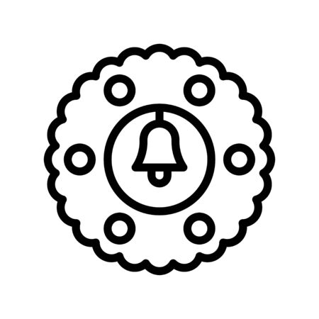 Christmas Wreath vector illustration, line style icon