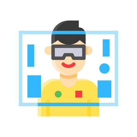 Virtual reality vector illustration, Future technology flat design icon Çizim