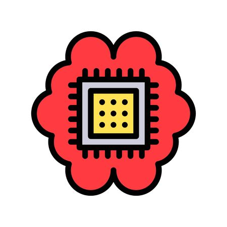 Circuit chip with brain vector, Artificial related filled style icon 矢量图像