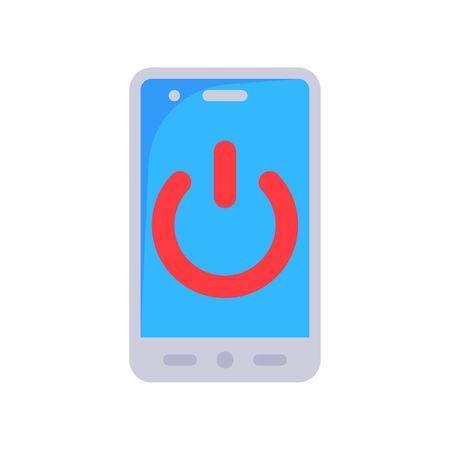 Power symbol on device vector illustration, Future technology flat design icon 矢量图像