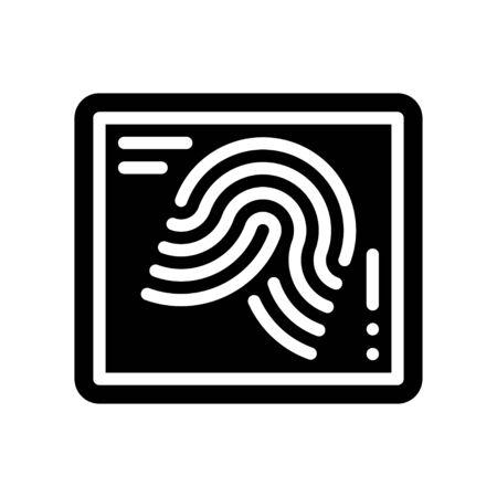 Fingerprint vector illustration, Future technology solid design icon Иллюстрация