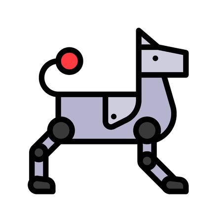 Robot dog vector, Robotics related filled style icon 免版税图像 - 136139968