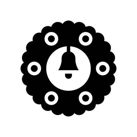Christmas Wreath vector illustration, solid style icon 免版税图像 - 136139971