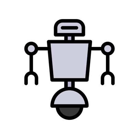 Robot navigation vector, Robotics related filled style icon