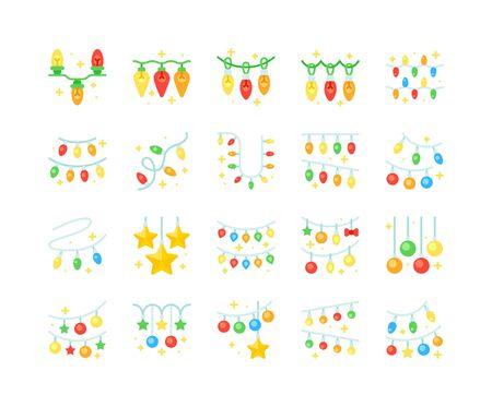 Christmas lights vector icon set, flat design