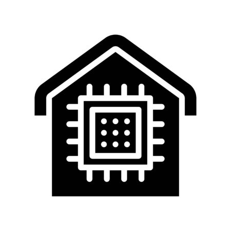 House with computer chip vector illustration, Future technology solid design icon