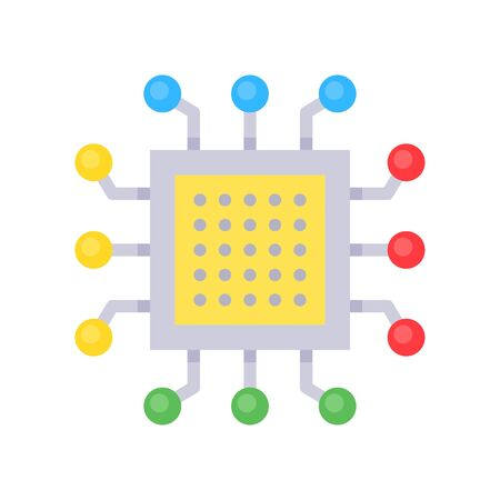 Integrated circuit vector, Artificial related flat style icon Иллюстрация