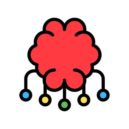 Circuit chip with brain vector, Artificial related filled style icon Ilustrace