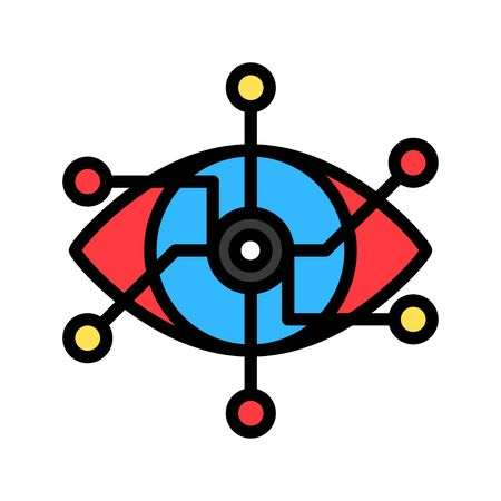 Eye with circuit vector, Artificial related filled style icon