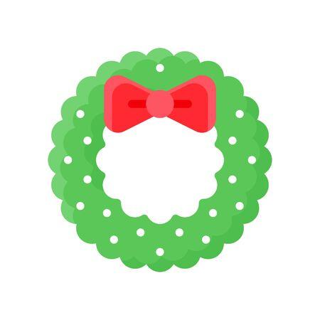 Christmas Wreath vector illustration, flat style icon 免版税图像 - 136139986