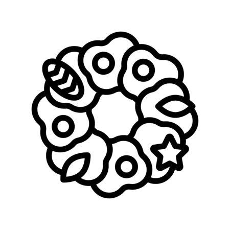 Christmas Wreath vector illustration, line style icon 免版税图像 - 136139998