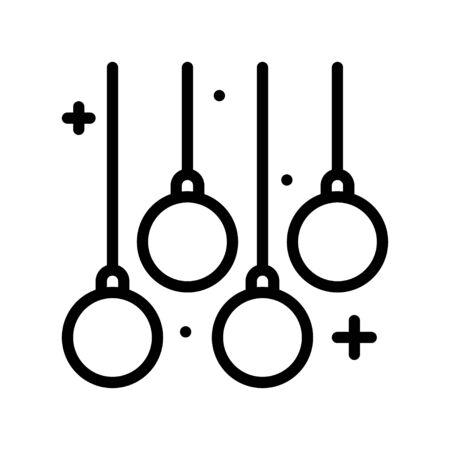 Christmas lights line design icon, vector illustration