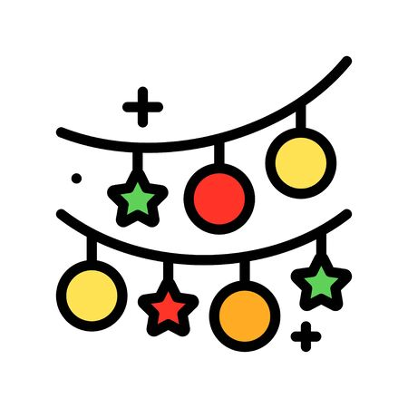 Christmas lights filled design icon, vector illustration Illustration