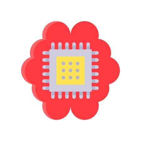 Circuit chip with brain vector, Artificial related flat style icon