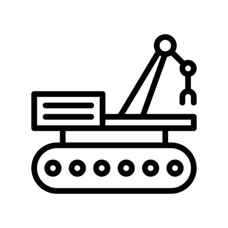 Robotic car vector illustration, Future technology line design icon Illustration