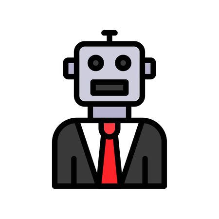 Robot vector, Robotics related filled style icon 免版税图像 - 136140007