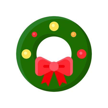 Christmas Wreath vector illustration, flat style icon 免版税图像 - 136140010