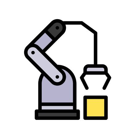 Robotic arm manufacturing vector, Robotics related filled style icon