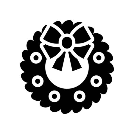 Christmas Wreath vector illustration, solid style icon 免版税图像 - 136140022