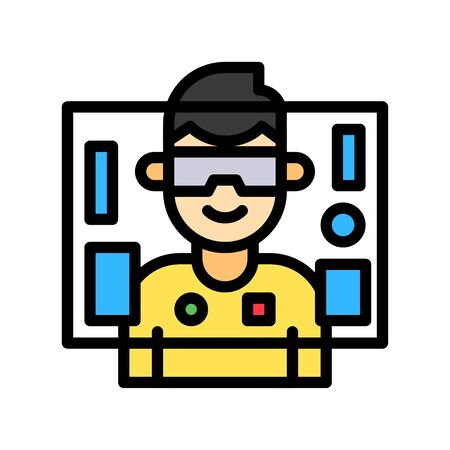 Virtual reality vector illustration, Future technology filled design icon