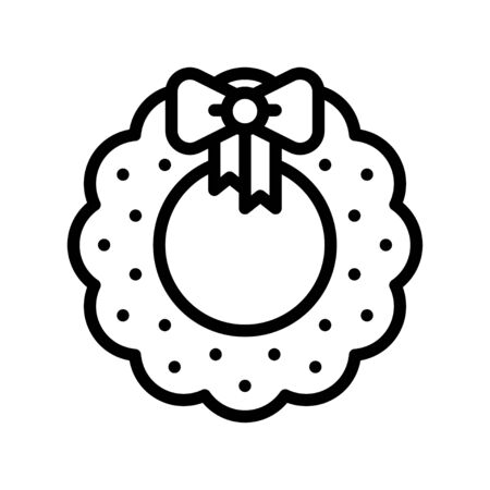Christmas Wreath vector illustration, line style icon