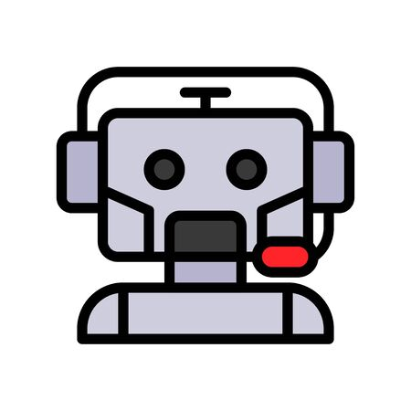 Robot vector, Robotics related filled style icon