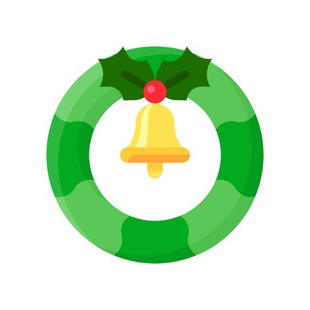 Christmas Wreath vector illustration, flat style icon