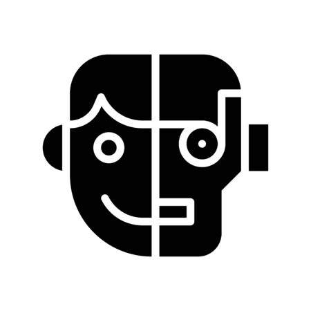 Humanoid vector, Artificial related solid style icon