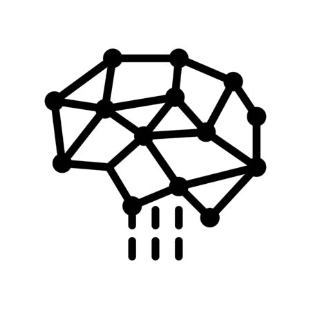 Neural network vector, Artificial related solid style icon Ilustrace